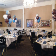 Blue, White, and Black Balloon Bouquet for Baby Showers