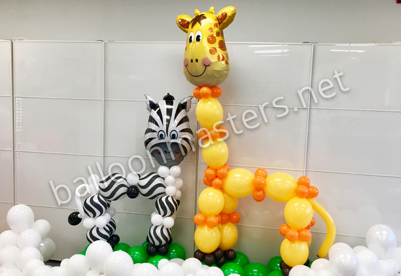 Giraffe and Zebra Balloon Sculpture for Baby Showers